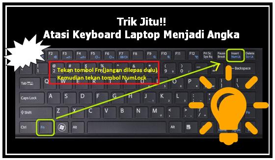 Trik Jitu Atasi Keyboard Laptop Menjadi Angka